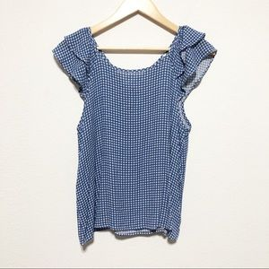 Everly Blue and White Gingham Ruffle Blouse